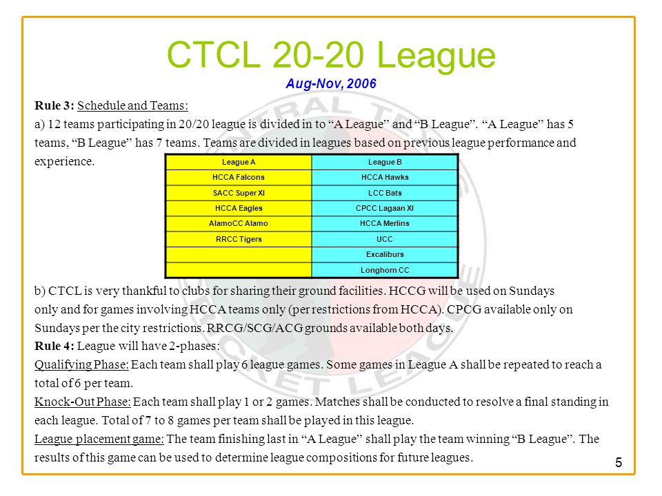 5 CTCL 20-20 League Aug-Nov, 2006 Rule 3: Schedule and Teams: a) 12 teams participating in 20/20 league is divided in to A League and B League .