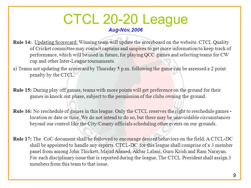 9 CTCL 20-20 League Aug-Nov, 2006 Rule 14: Updating Scorecard: Winning team will update the scoreboard on the website.