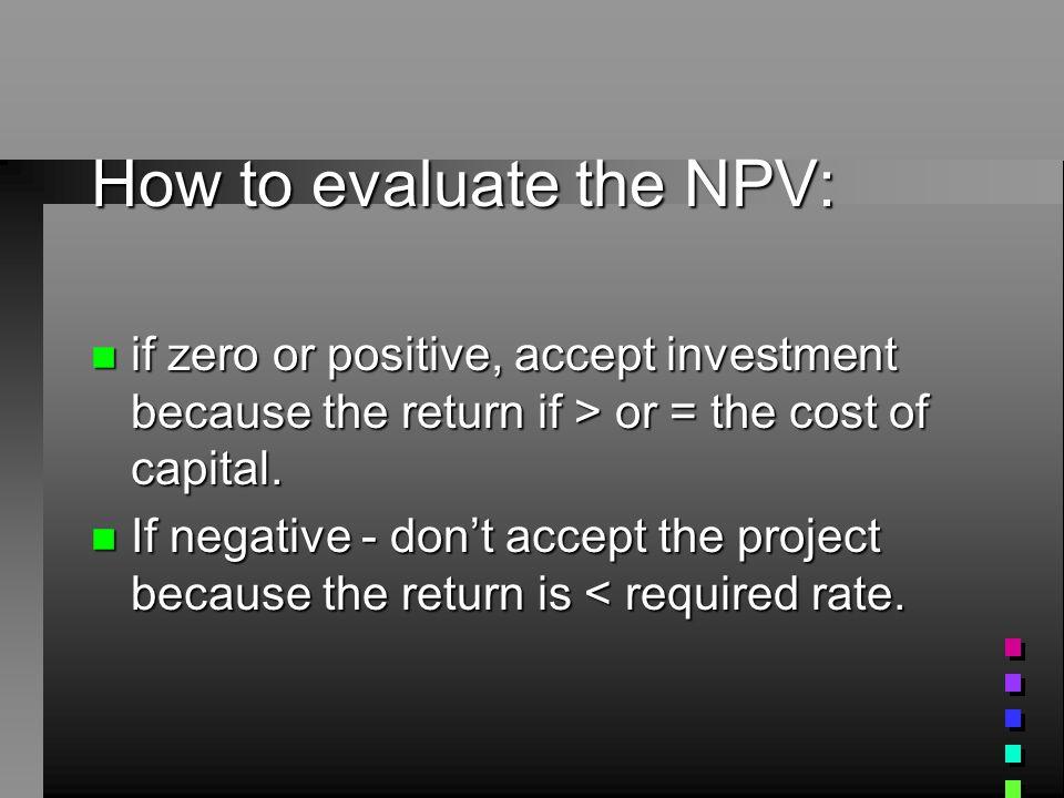 NPV - steps: n 1.