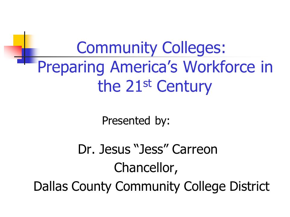 Community Colleges: Preparing America's Workforce in the 21 st Century Presented by: Dr.
