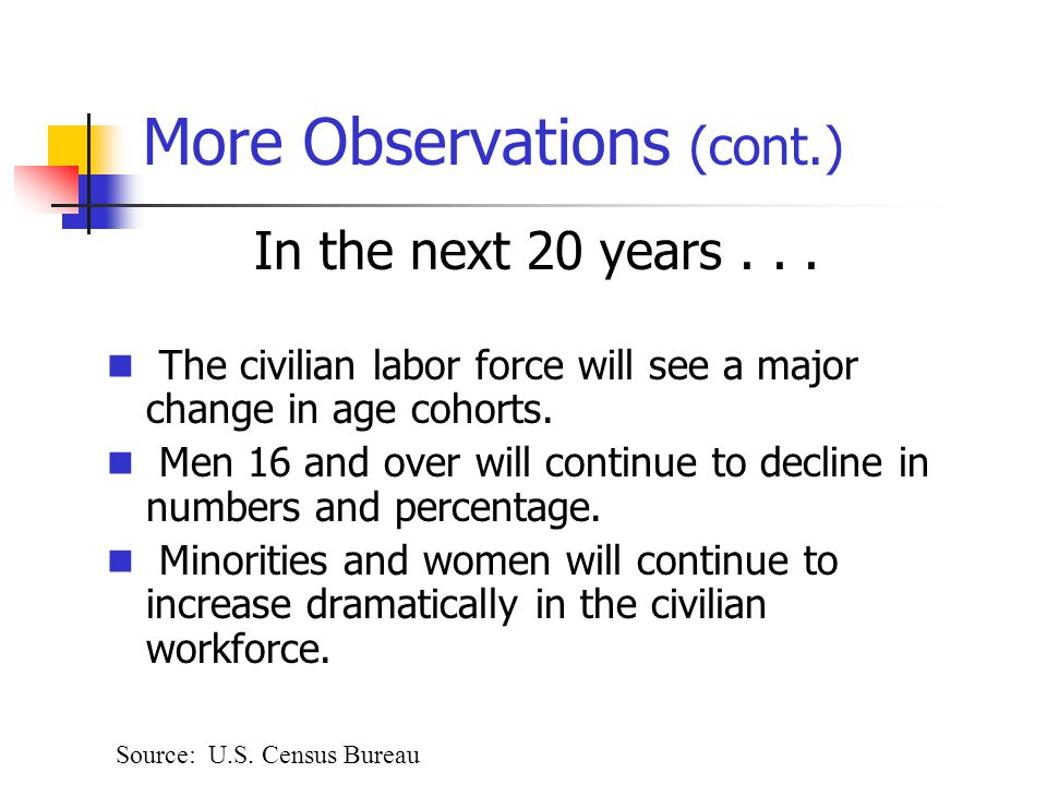 More Observations (cont.) In the next 20 years...