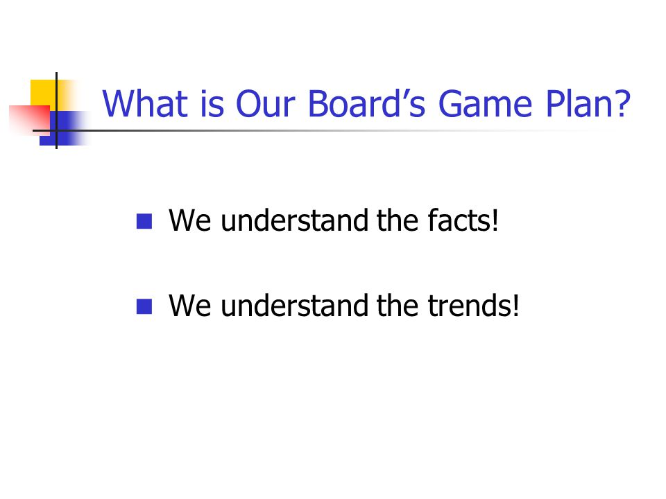 What is Our Board's Game Plan? We understand the facts! We understand the trends!