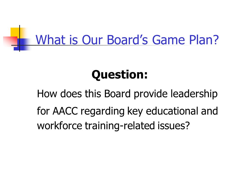 What is Our Board's Game Plan.