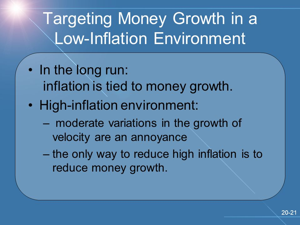 20-21 Targeting Money Growth in a Low-Inflation Environment In the long run: inflation is tied to money growth.