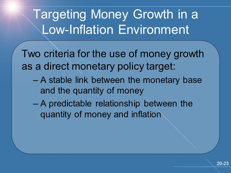 20-23 Two criteria for the use of money growth as a direct monetary policy target: –A stable link between the monetary base and the quantity of money –A predictable relationship between the quantity of money and inflation Targeting Money Growth in a Low-Inflation Environment