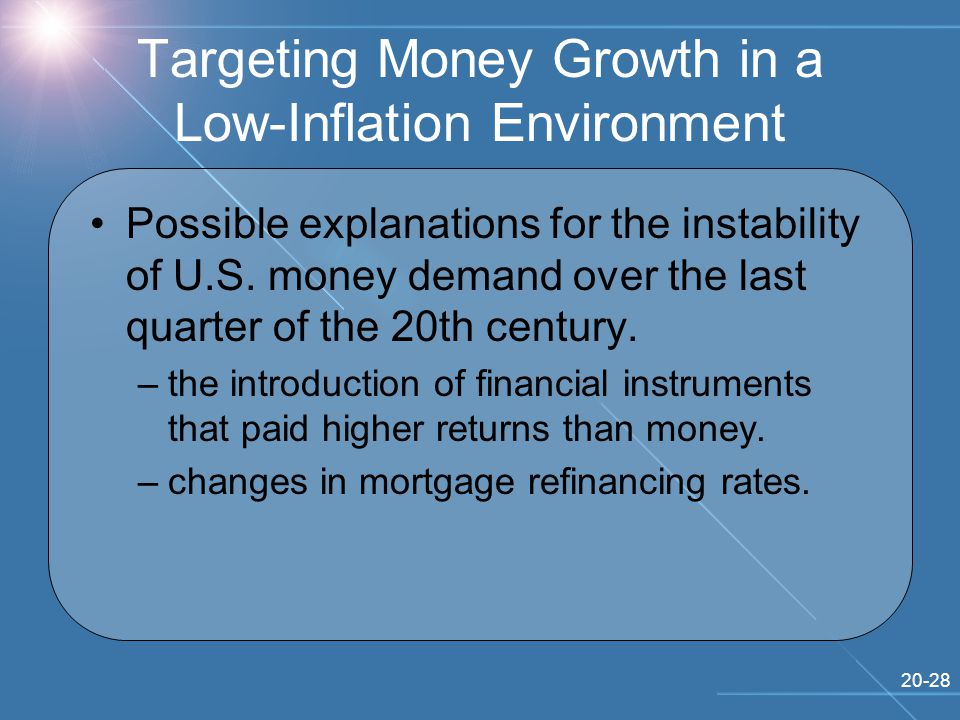 20-28 Targeting Money Growth in a Low-Inflation Environment Possible explanations for the instability of U.S.