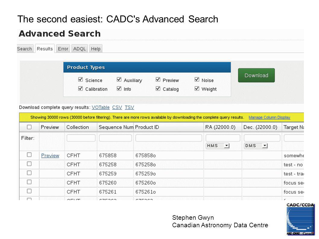 Stephen Gwyn Canadian Astronomy Data Centre The second easiest: CADC's Advanced Search