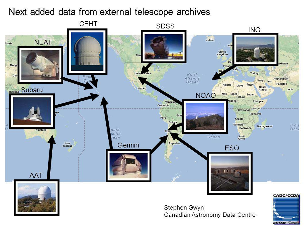 Stephen Gwyn Canadian Astronomy Data Centre NEAT CFHT Subaru ESO Gemini AAT SDSS NOAO ING HST WISE Next added data from external telescope archives