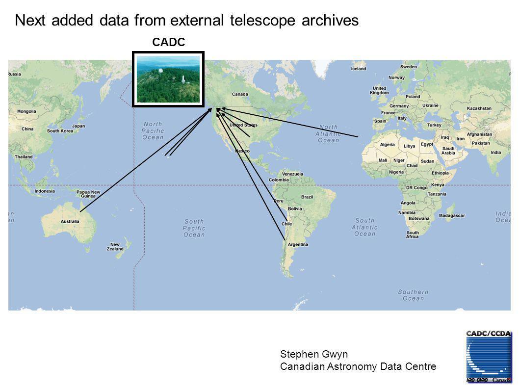 Stephen Gwyn Canadian Astronomy Data Centre CADC Next added data from external telescope archives