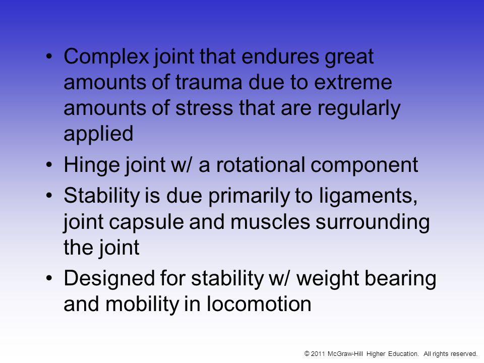 Complex joint that endures great amounts of trauma due to extreme amounts of stress that are regularly applied Hinge joint w/ a rotational component Stability is due primarily to ligaments, joint capsule and muscles surrounding the joint Designed for stability w/ weight bearing and mobility in locomotion © 2011 McGraw-Hill Higher Education.