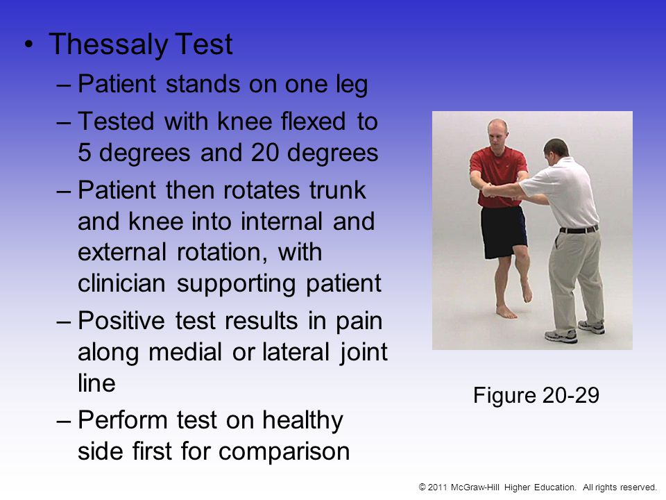 Thessaly Test –Patient stands on one leg –Tested with knee flexed to 5 degrees and 20 degrees –Patient then rotates trunk and knee into internal and external rotation, with clinician supporting patient –Positive test results in pain along medial or lateral joint line –Perform test on healthy side first for comparison © 2011 McGraw-Hill Higher Education.