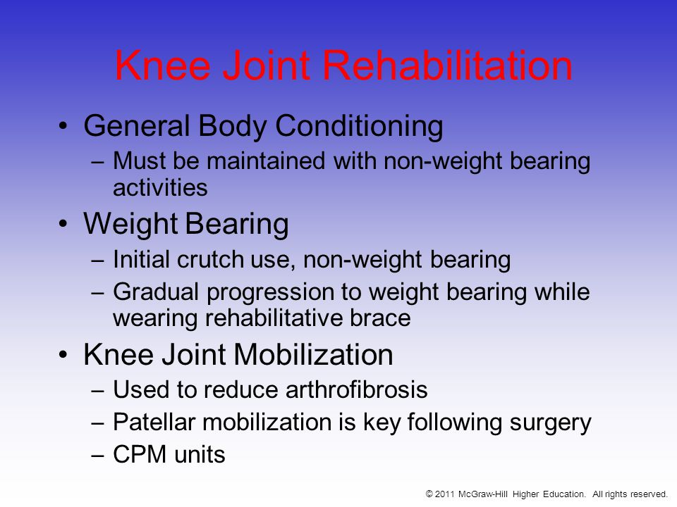 Knee Joint Rehabilitation General Body Conditioning –Must be maintained with non-weight bearing activities Weight Bearing –Initial crutch use, non-weight bearing –Gradual progression to weight bearing while wearing rehabilitative brace Knee Joint Mobilization –Used to reduce arthrofibrosis –Patellar mobilization is key following surgery –CPM units © 2011 McGraw-Hill Higher Education.