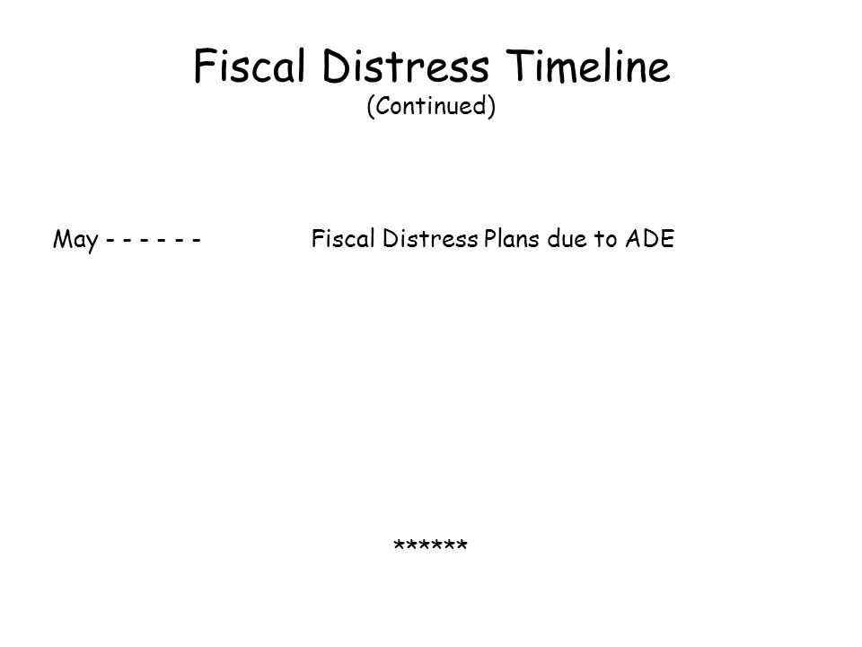 Fiscal Distress Timeline (Continued) May - - - - - -Fiscal Distress Plans due to ADE ******