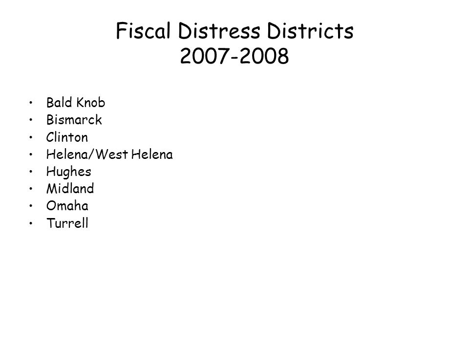 Fiscal Distress Districts 2007-2008 Bald Knob Bismarck Clinton Helena/West Helena Hughes Midland Omaha Turrell