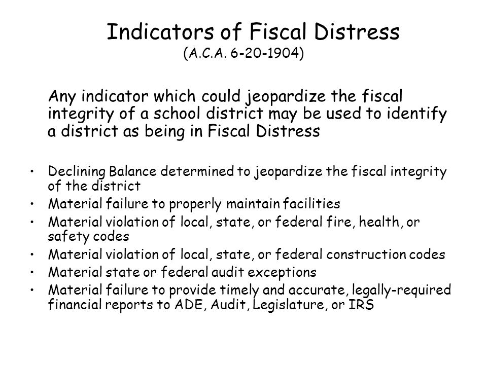 Classification in Fiscal Distress (A.C.A.