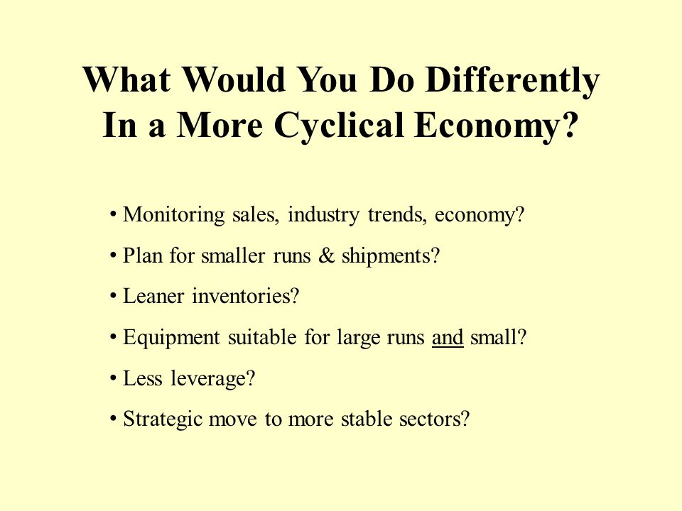 What Would You Do Differently In a More Cyclical Economy.