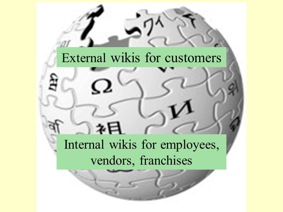 External wikis for customers Internal wikis for employees, vendors, franchises