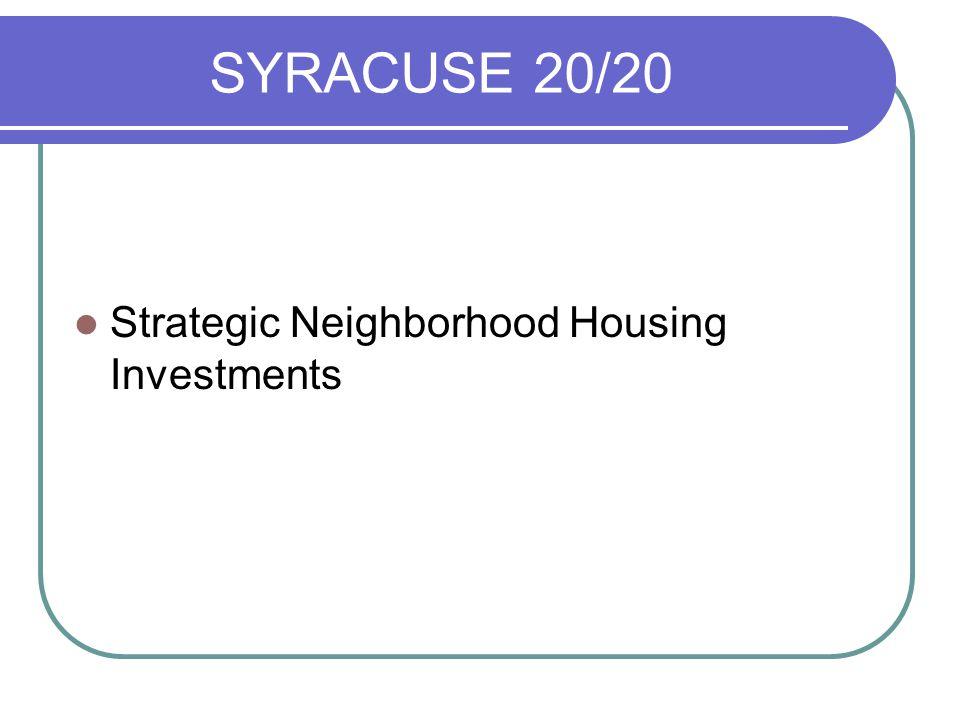 SYRACUSE 20/20 Strategic Neighborhood Housing Investments