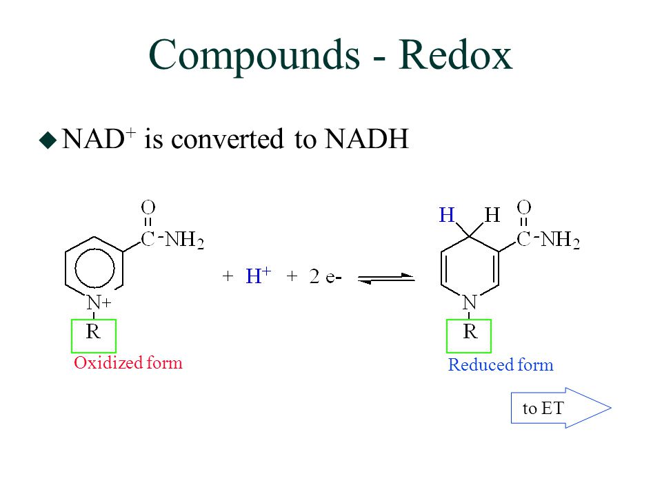 Compounds - Redox  NAD + is converted to NADH Oxidized form Reduced form to ET