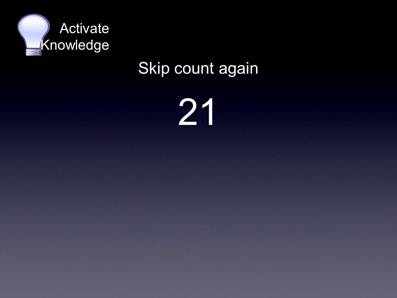 Activate Knowledge On your whiteboards, skip count by: 43