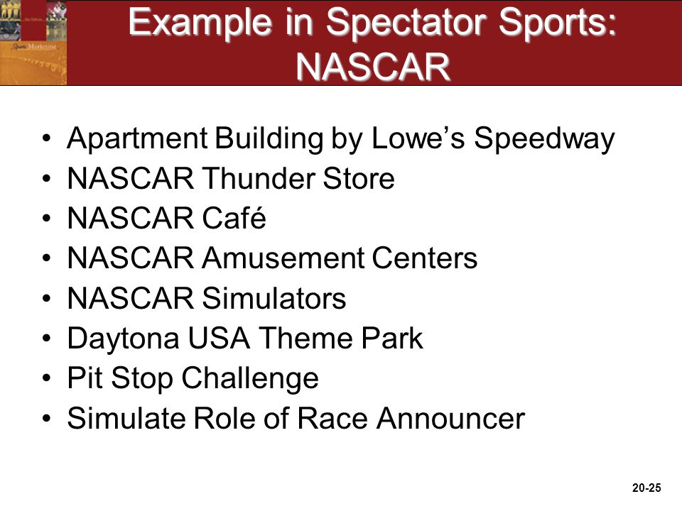 20-25 Example in Spectator Sports: NASCAR Apartment Building by Lowe's Speedway NASCAR Thunder Store NASCAR Café NASCAR Amusement Centers NASCAR Simulators Daytona USA Theme Park Pit Stop Challenge Simulate Role of Race Announcer
