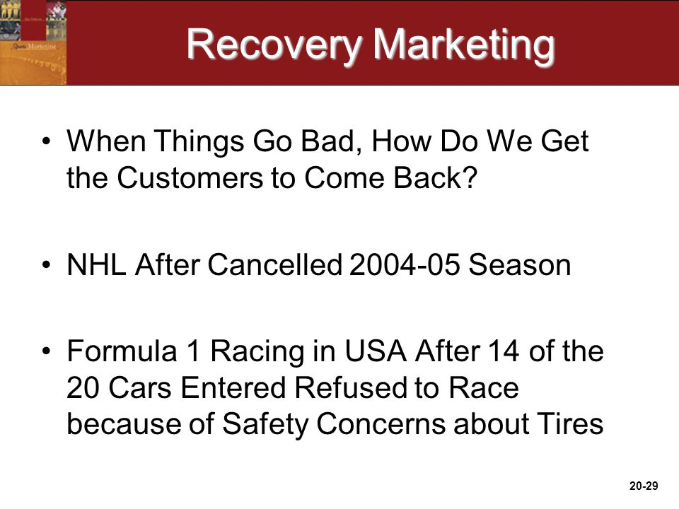 20-29 Recovery Marketing When Things Go Bad, How Do We Get the Customers to Come Back.
