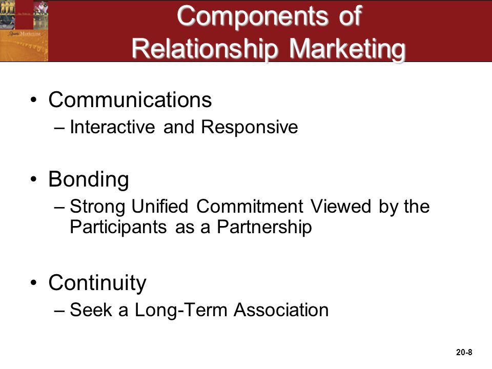20-8 Components of Relationship Marketing Communications –Interactive and Responsive Bonding –Strong Unified Commitment Viewed by the Participants as a Partnership Continuity –Seek a Long-Term Association
