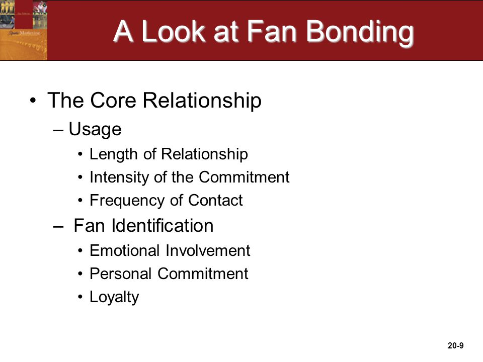 20-9 A Look at Fan Bonding The Core Relationship –Usage Length of Relationship Intensity of the Commitment Frequency of Contact – Fan Identification Emotional Involvement Personal Commitment Loyalty