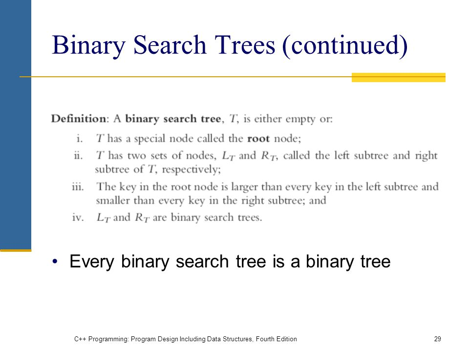 Binary Search Trees (continued) Every binary search tree is a binary tree C++ Programming: Program Design Including Data Structures, Fourth Edition29