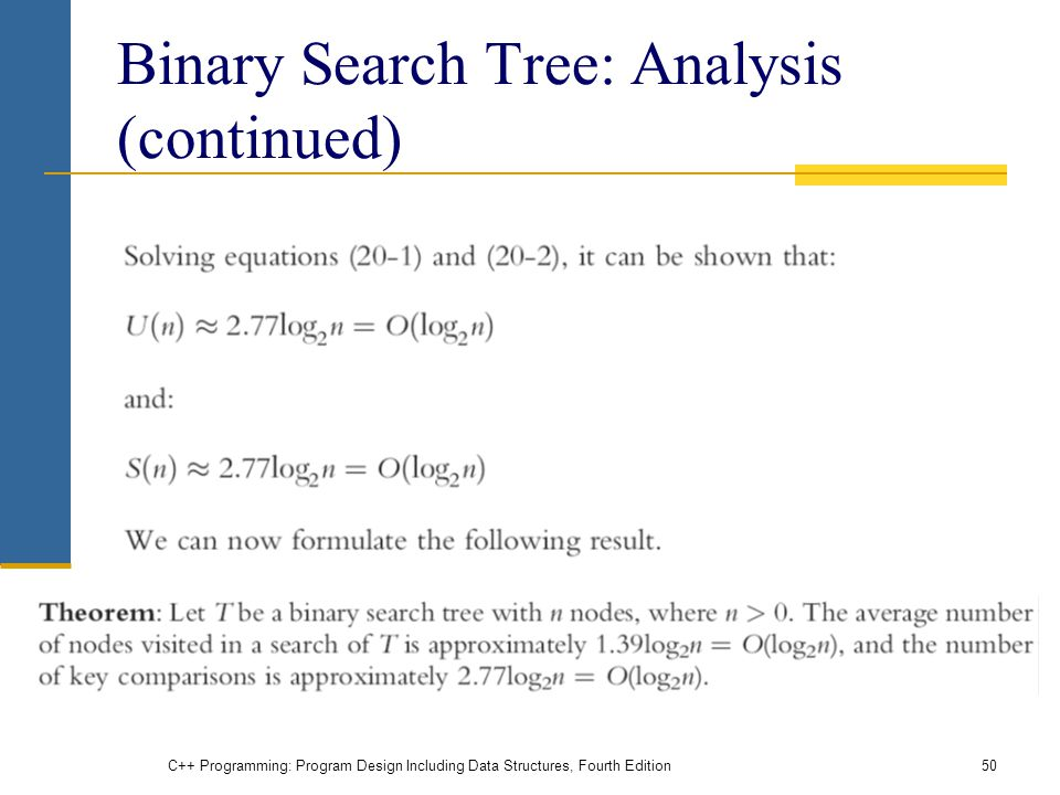 Binary Search Tree: Analysis (continued) C++ Programming: Program Design Including Data Structures, Fourth Edition50