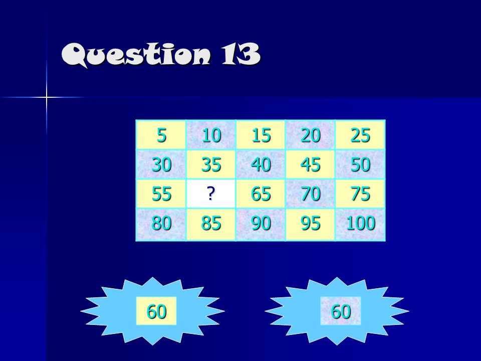 Question 13 510152025 3035404550 55?657075 80859095100 6060