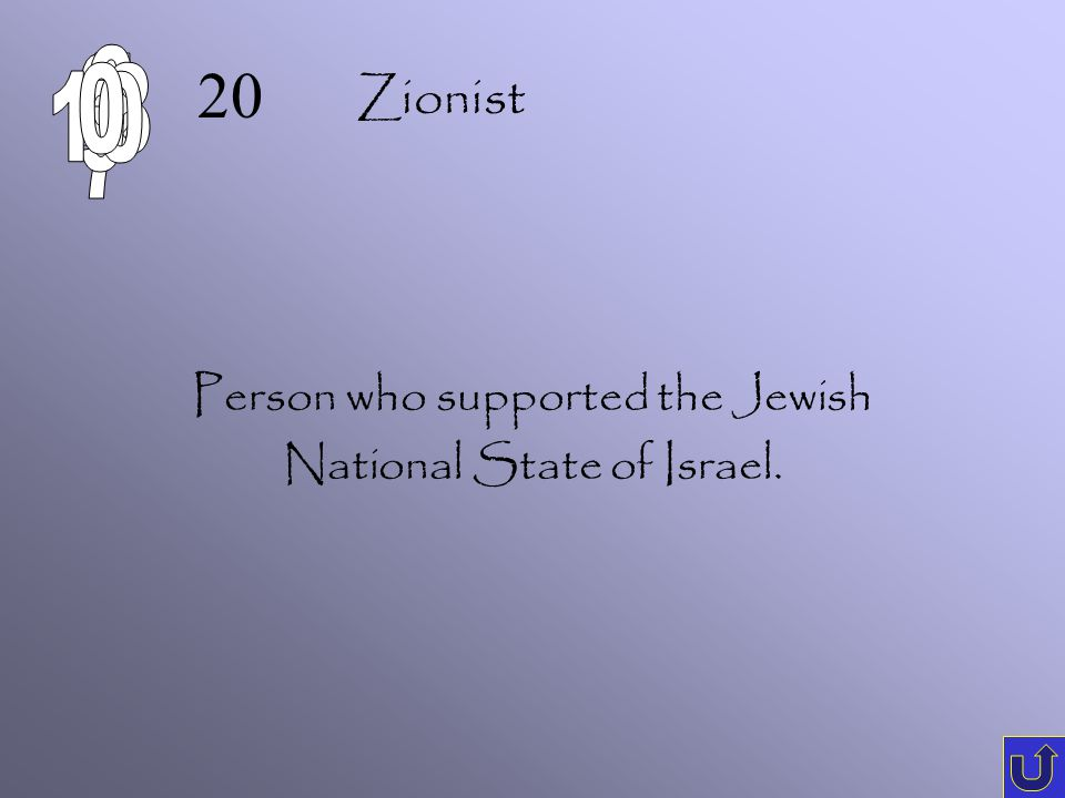 C-1 10 A person who hates Jews. Anti-Semite