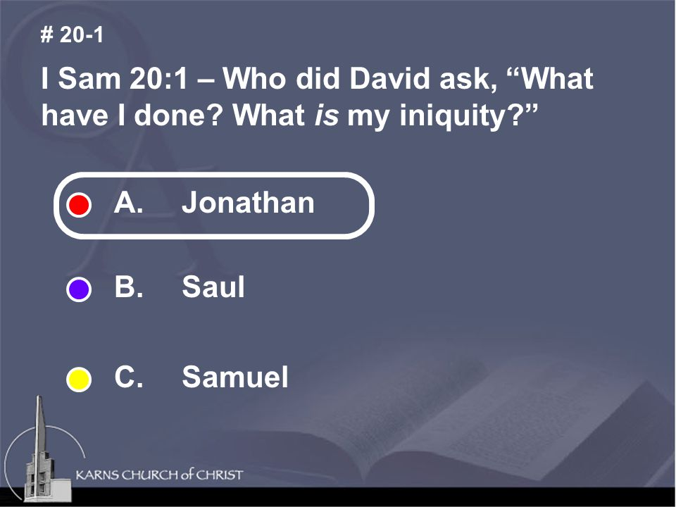 I Sam 20:2 – Jonathan told David his father would do _________ without telling him.