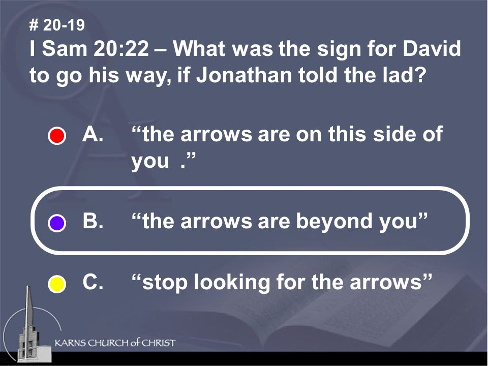 I Sam 20:22 – What was the sign for David to go his way, if Jonathan told the lad.