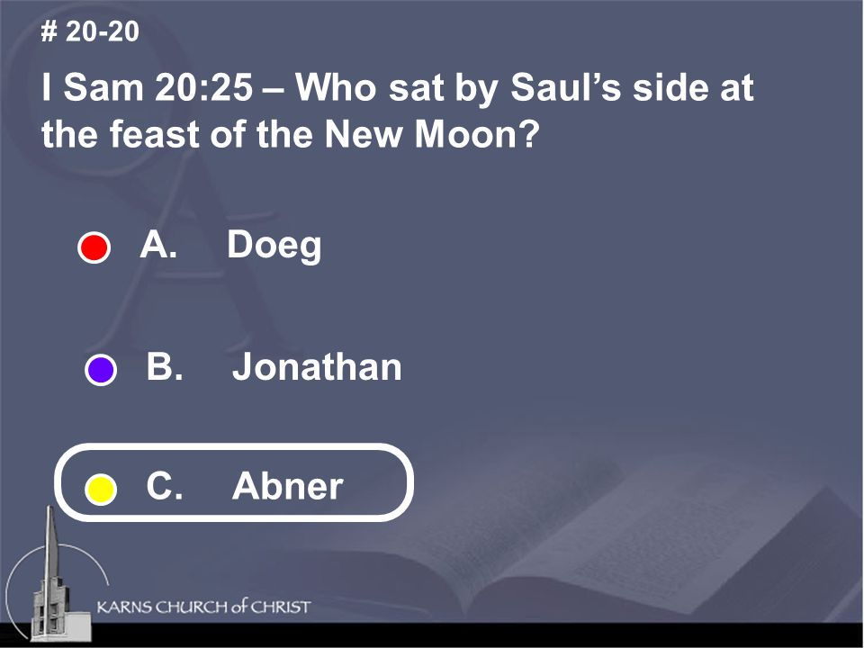 I Sam 20:25 – Who sat by Saul's side at the feast of the New Moon.