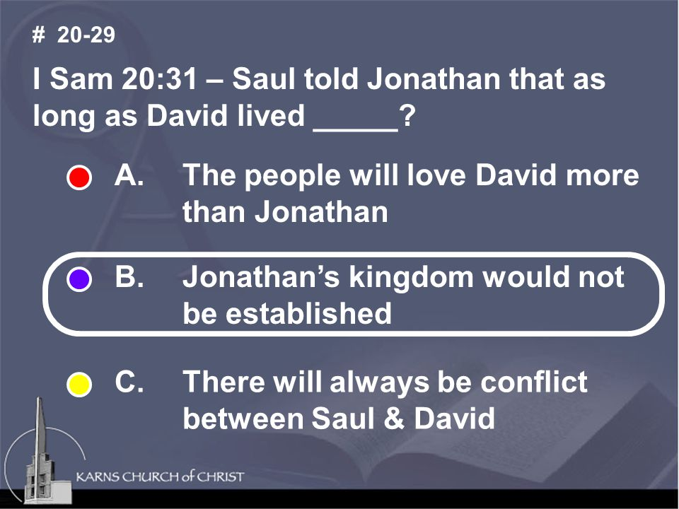 I Sam 20:31 – Saul told Jonathan that as long as David lived _____.