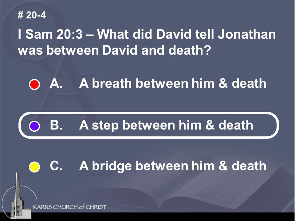 I Sam 20:3 – What did David tell Jonathan was between David and death.