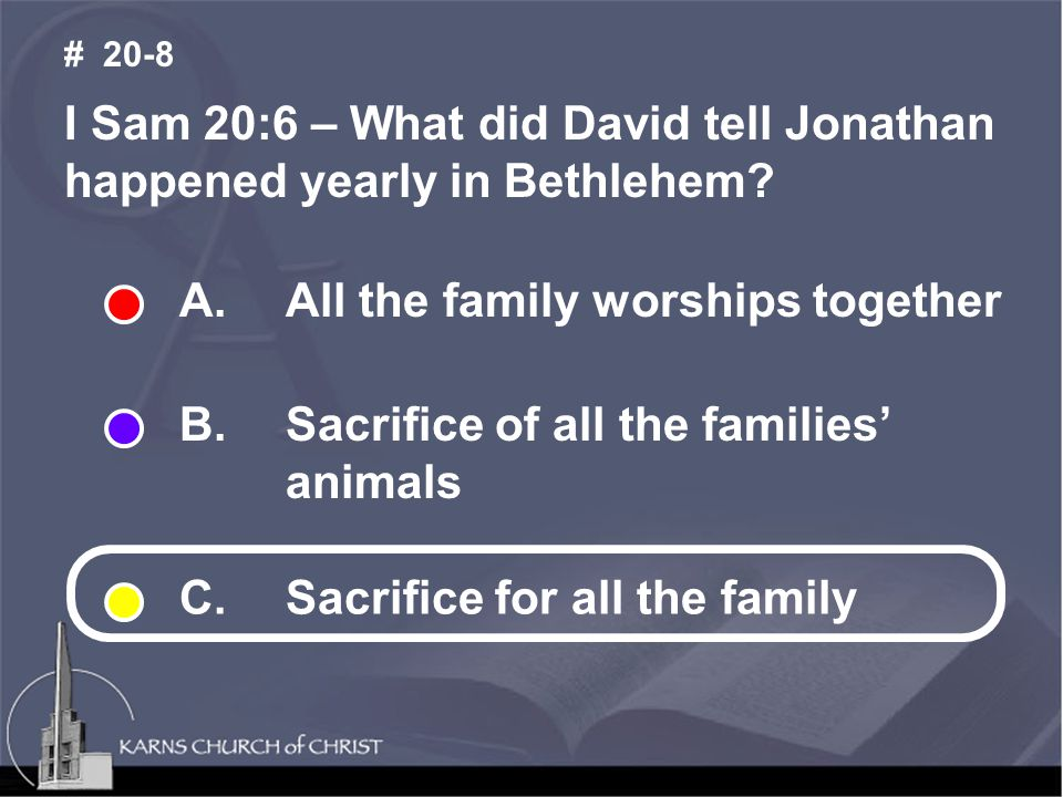 I Sam 20:6 – What did David tell Jonathan happened yearly in Bethlehem.