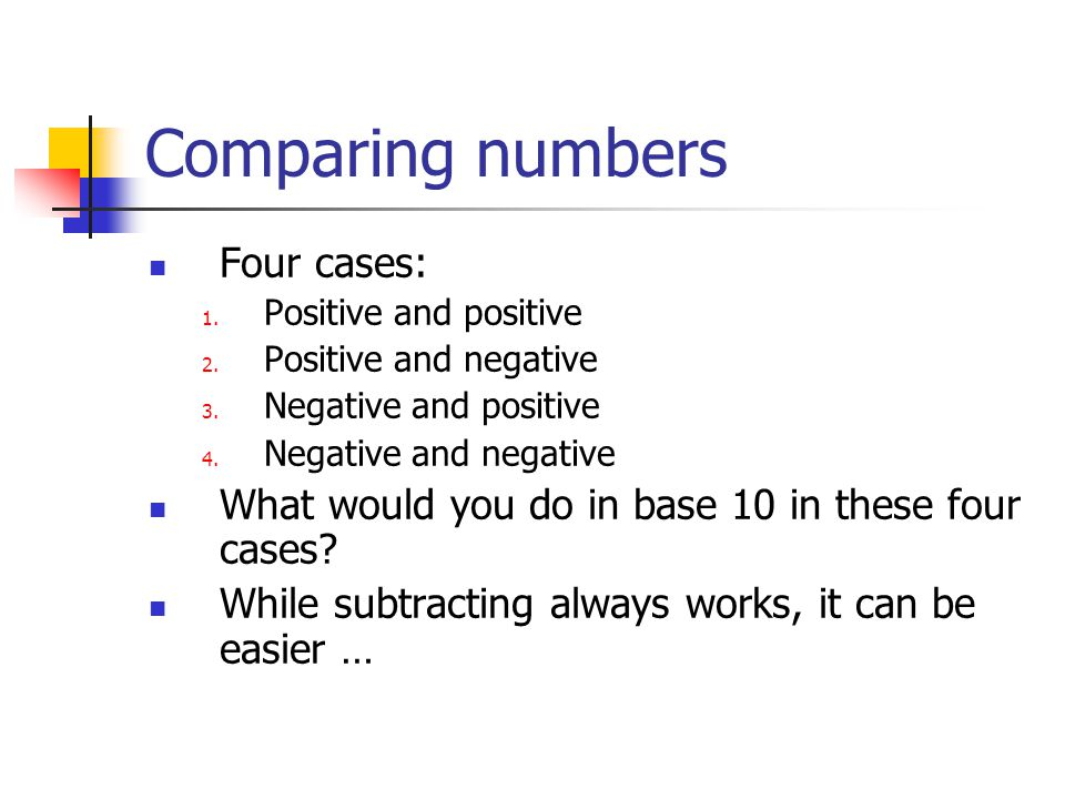 Comparing numbers Four cases: 1. Positive and positive 2.