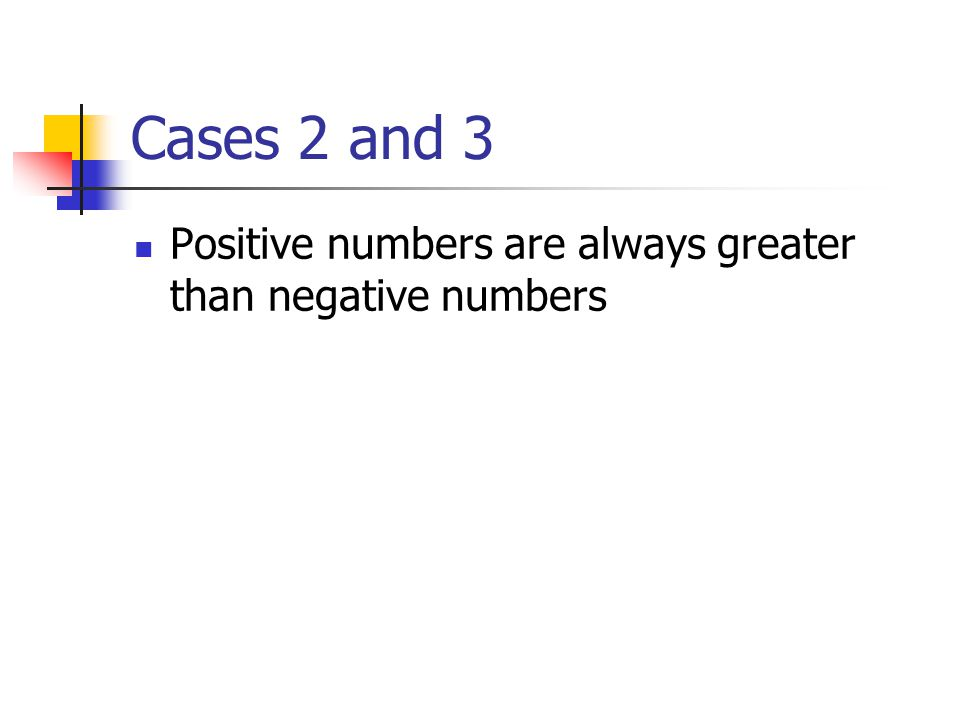 Cases 2 and 3 Positive numbers are always greater than negative numbers