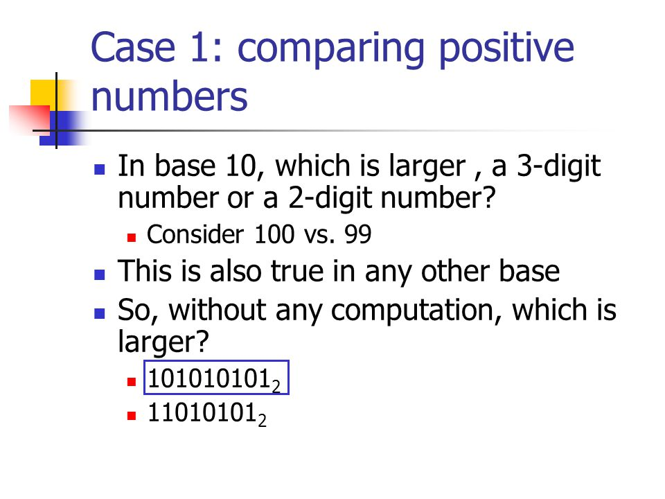 Case 1: comparing positive numbers In base 10, which is larger, a 3-digit number or a 2-digit number? Consider 100 vs. 99 This is also true in any oth