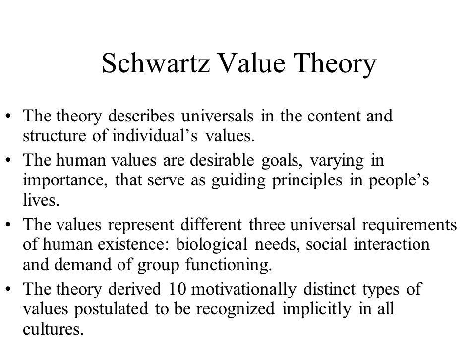 The values: Achievement (LE) Hedonism (HE) Power (MA) Stimulation (ST) Security (SI) Self-Direction (SE) Conformity (KO) Universalism (UN) Tradition (TR) Benevolence (WO)