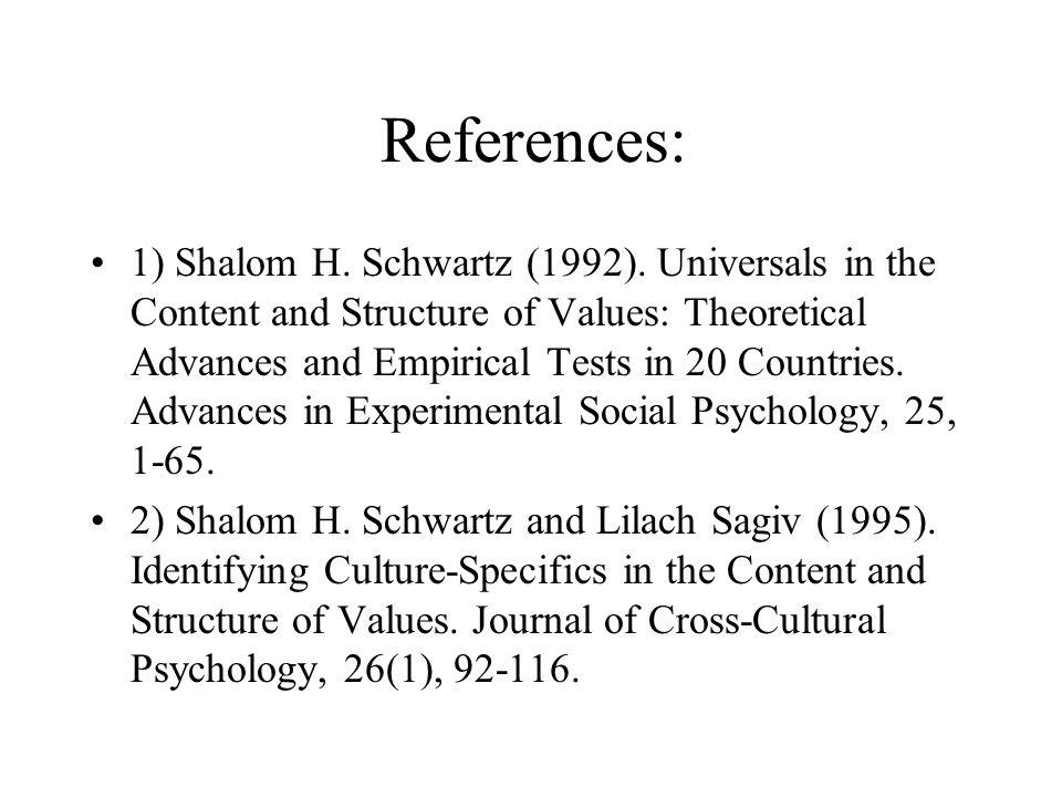 References: 1) Shalom H. Schwartz (1992).