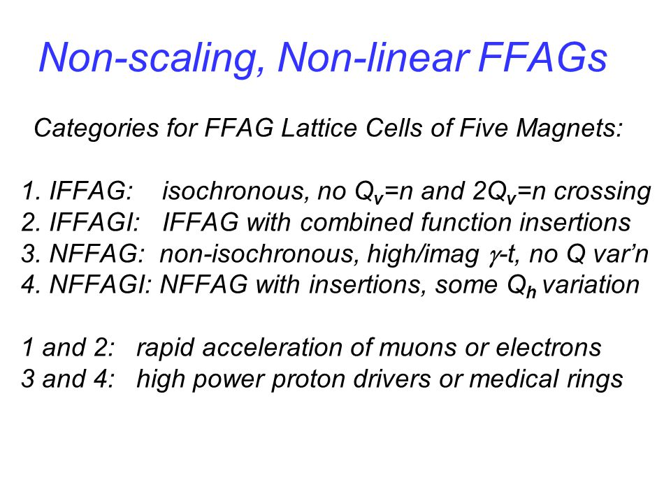 Non-scaling, Non-linear FFAGs Categories for FFAG Lattice Cells of Five Magnets: 1.