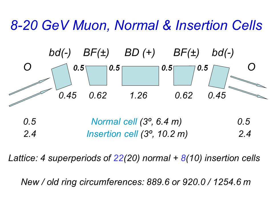 8-20 GeV Muon, Normal & Insertion Cells bd(-) BF(±) BD (+) BF(±) bd(-) O 0.5 0.5 0.5 0.5 O 0.45 0.62 1.26 0.62 0.45 0.5 Normal cell (3º, 6.4 m) 0.5 2.4 Insertion cell (3º, 10.2 m) 2.4 Lattice: 4 superperiods of 22(20) normal + 8(10) insertion cells New / old ring circumferences: 889.6 or 920.0 / 1254.6 m