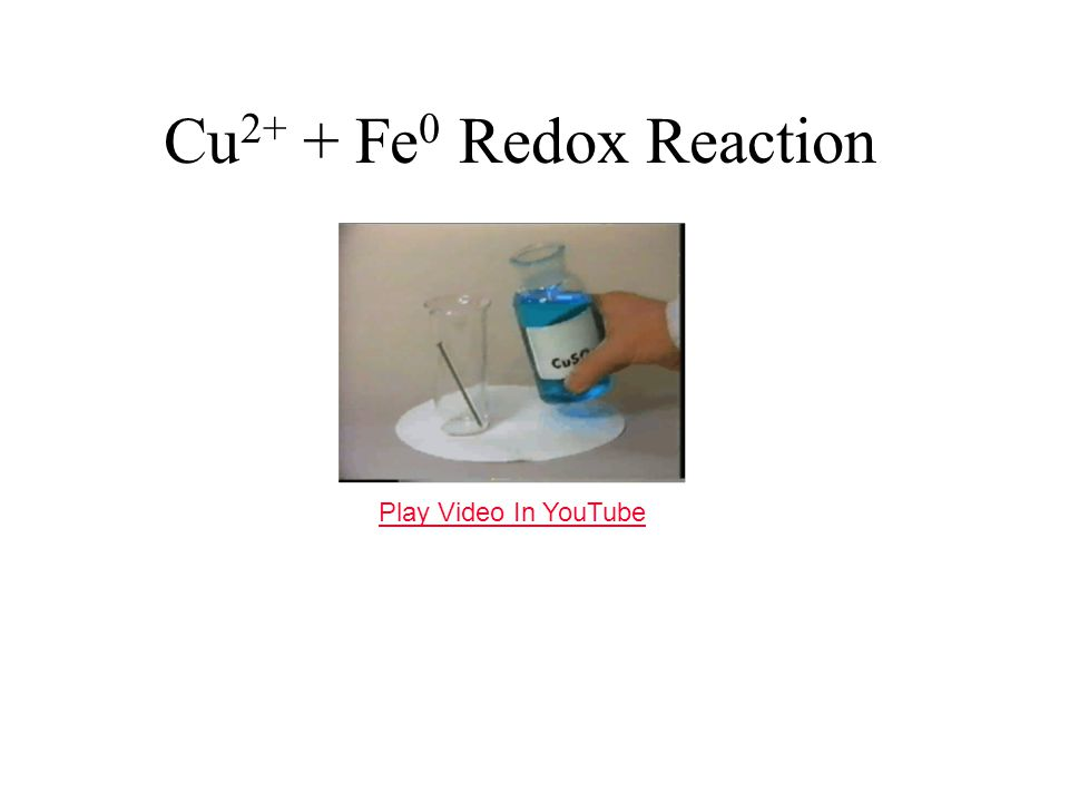 Cu 2+ + Fe 0 Redox Reaction Play Video In YouTube