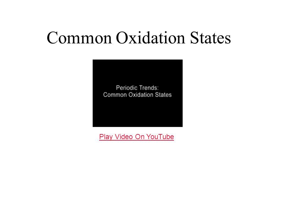 Common Oxidation States Play Video On YouTube