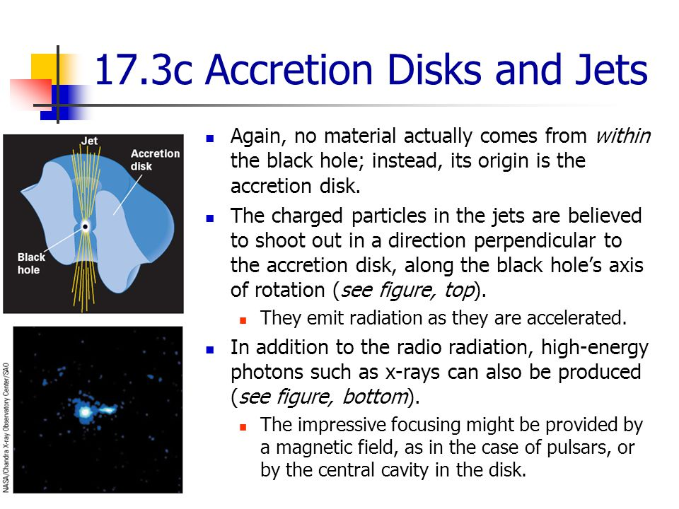 17.3c Accretion Disks and Jets Again, no material actually comes from within the black hole; instead, its origin is the accretion disk.