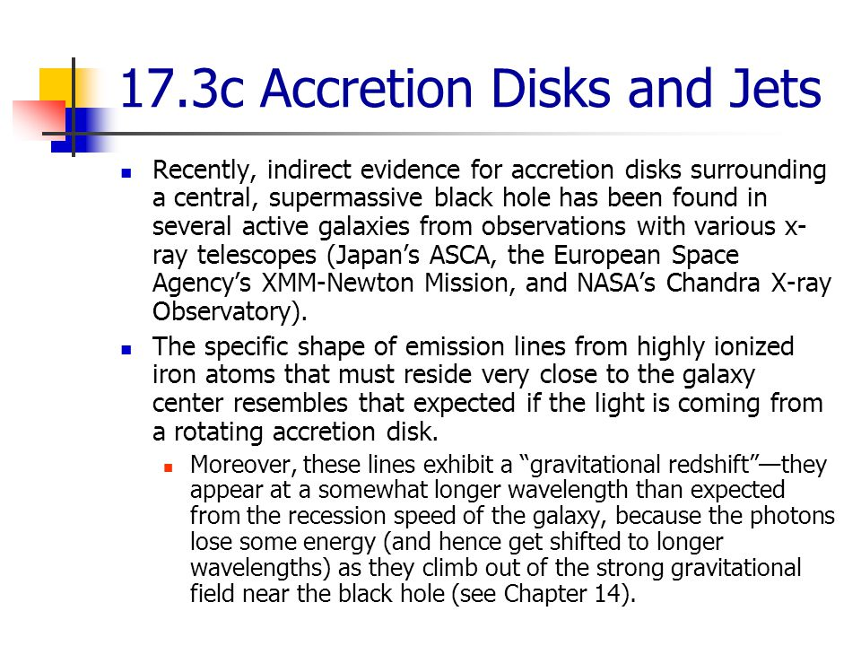 17.3c Accretion Disks and Jets Recently, indirect evidence for accretion disks surrounding a central, supermassive black hole has been found in several active galaxies from observations with various x- ray telescopes (Japan's ASCA, the European Space Agency's XMM-Newton Mission, and NASA's Chandra X-ray Observatory).