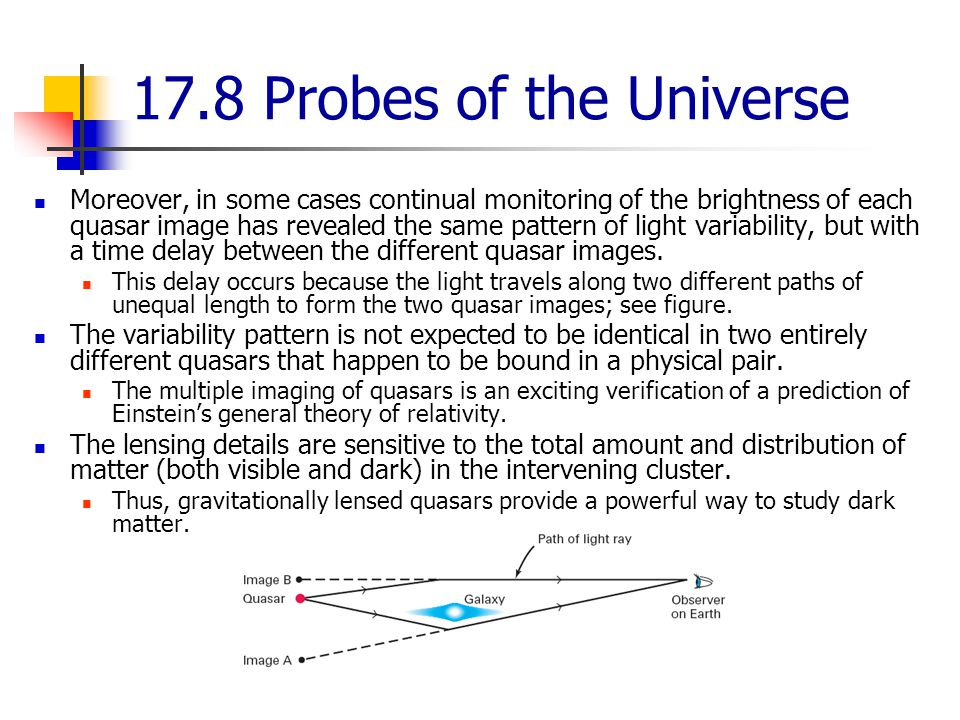 17.8 Probes of the Universe Moreover, in some cases continual monitoring of the brightness of each quasar image has revealed the same pattern of light variability, but with a time delay between the different quasar images.